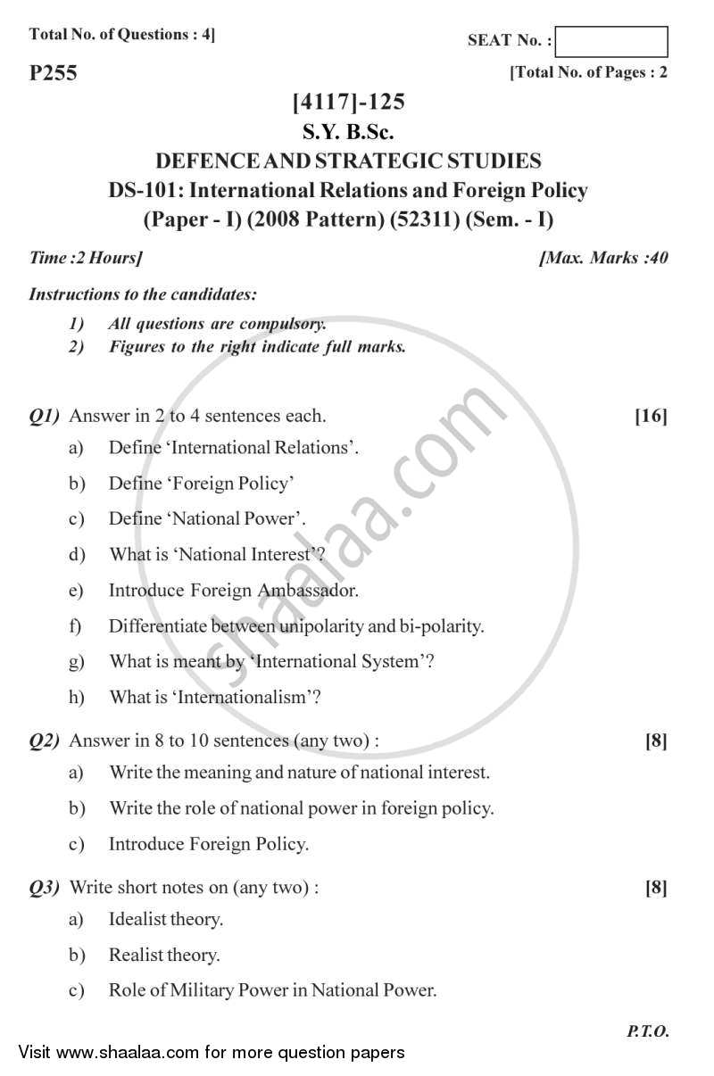 Question Paper - International Relations and Foreign Policy 2012 - 2013 - B.Sc. - Semester 3 (SYBSc) - University of Pune