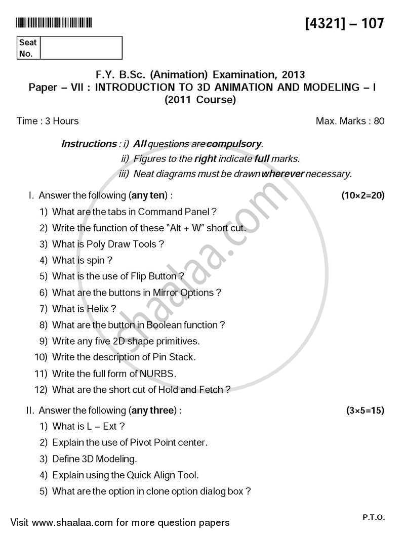 Introduction to 3d Animation and Modeling 1 2013-2014 - B.Sc. - Semester 2 (FYBSc) - University of Pune question paper with PDF download
