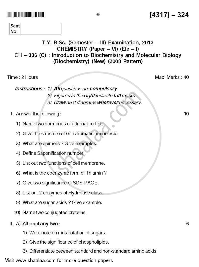 Question Paper - Introduction to Biochemistry and Molecular Biology 2013 - 2014 - B.Sc. - Semester 5 (TYBSc) - University of Pune