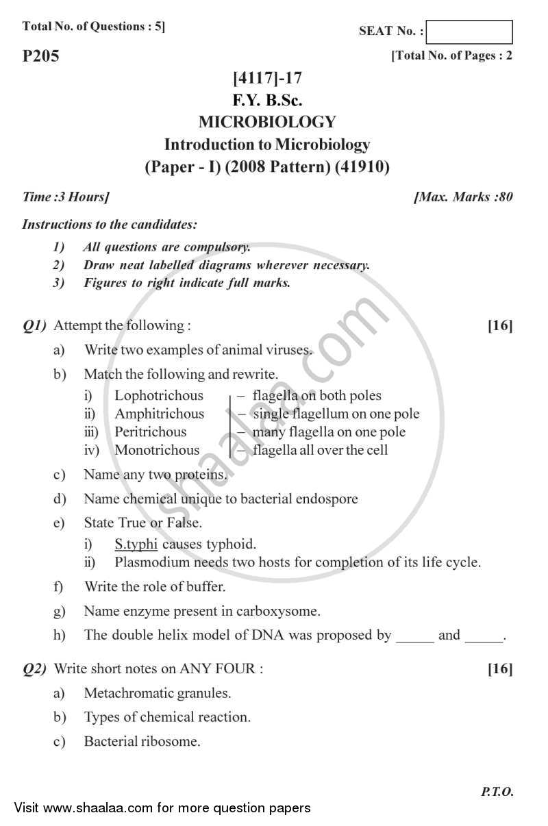 Question Paper - Introduction to Microbiology 2012 - 2013 - B.Sc. - Semester 2 (FYBSc) - University of Pune