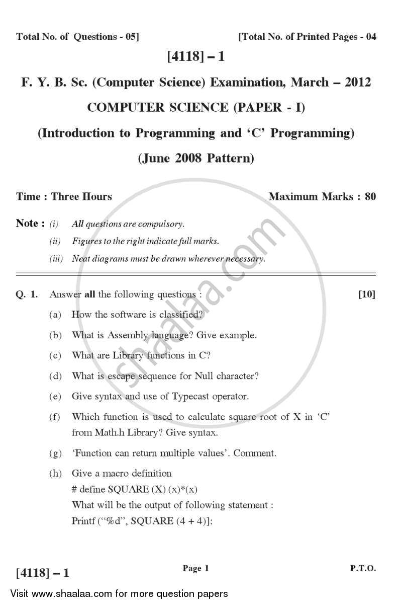 Question Paper - Introduction to Programming and C Programming 2012 - 2013 - B.Sc. - Semester 2 (FYBSc) - University of Pune