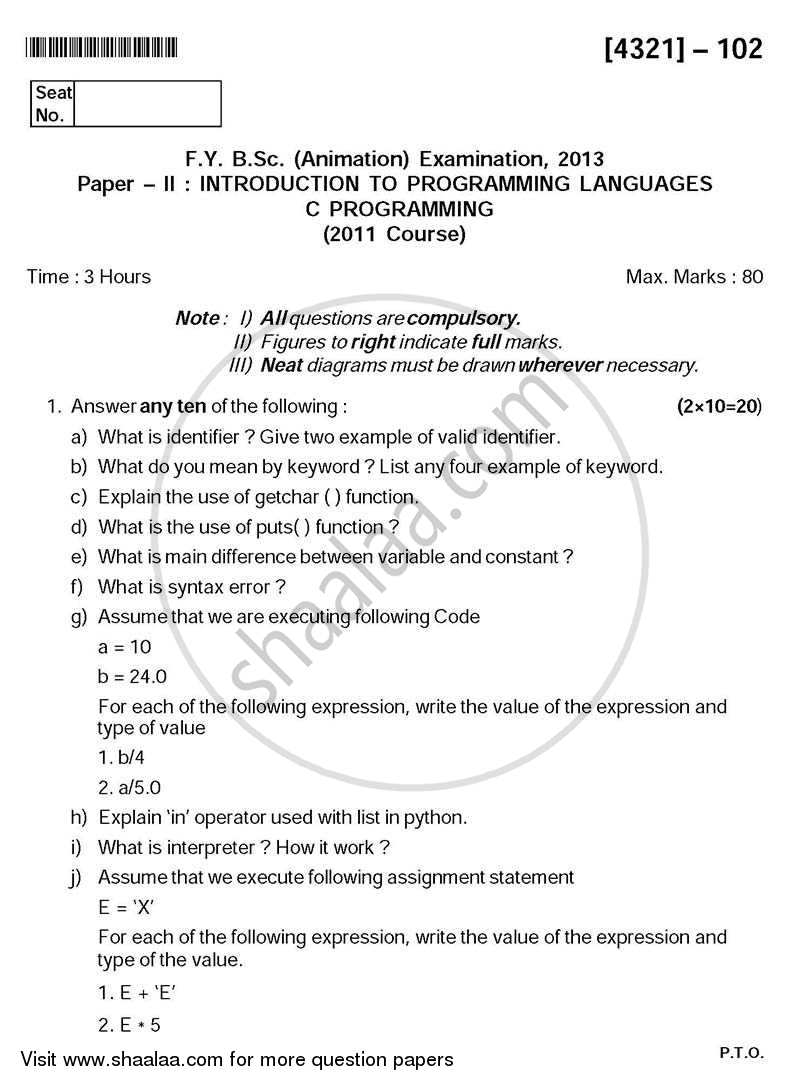 Introduction to Programming Languages 2013-2014 - B.Sc. - Semester 2 (FYBSc) - University of Pune question paper with PDF download