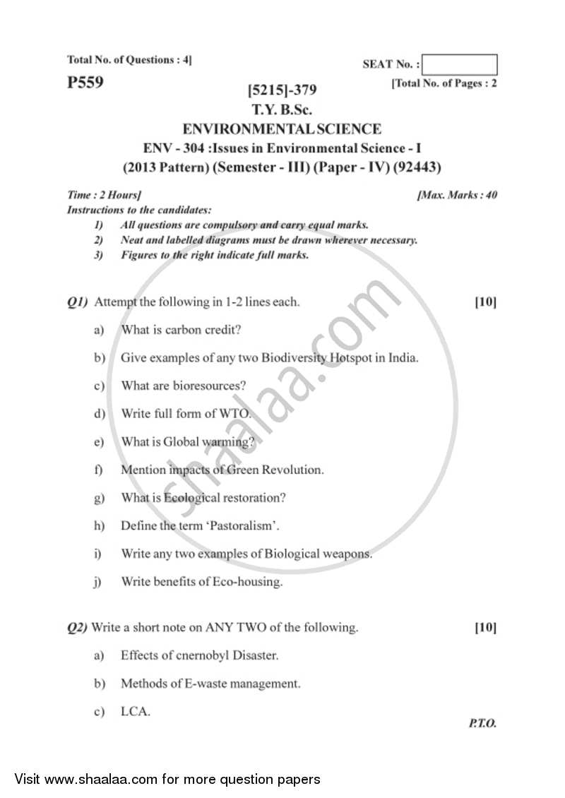 Issues in Environmental Science 2017-2018 B Sc Environmental Science