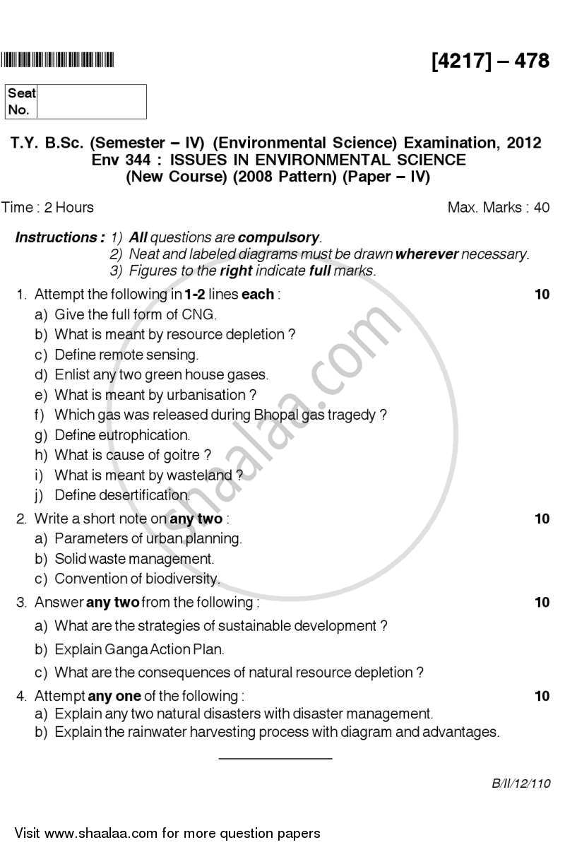 Question Paper - Issues in Environmental Science 2012 - 2013 - B.Sc. - Semester 6 (TYBSc) - University of Pune