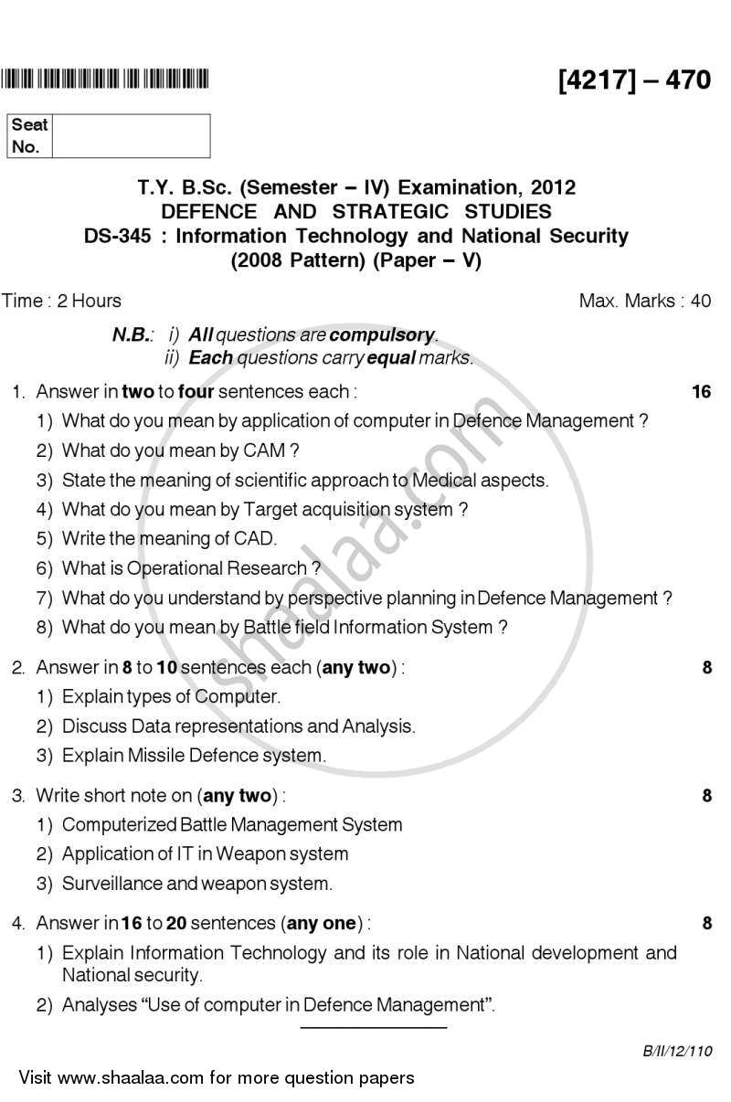 Information Technology and National Security 2012-2013 - B.Sc. - Semester 6 (TYBSc) - University of Pune question paper with PDF download