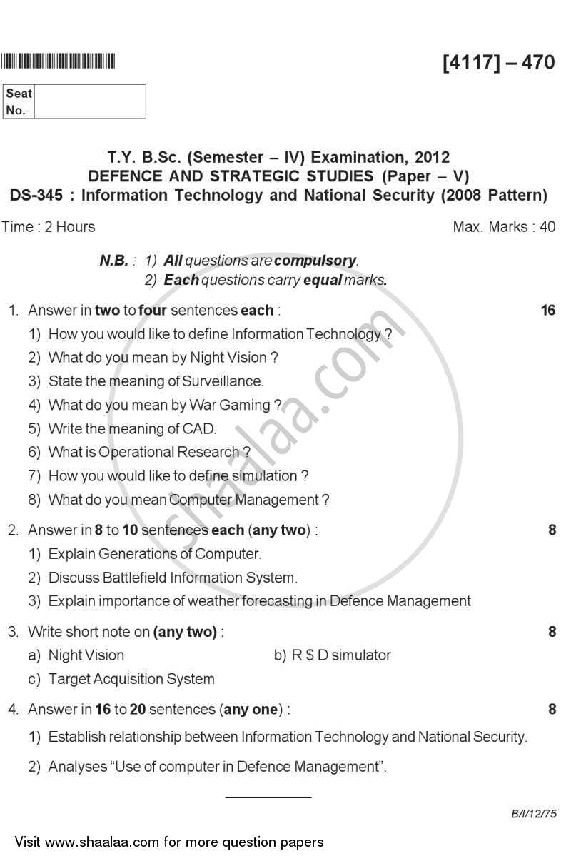 Question Paper - Information Technology and National Security 2012 - 2013-B.Sc.-Semester 6 (TYBSc) University of Pune