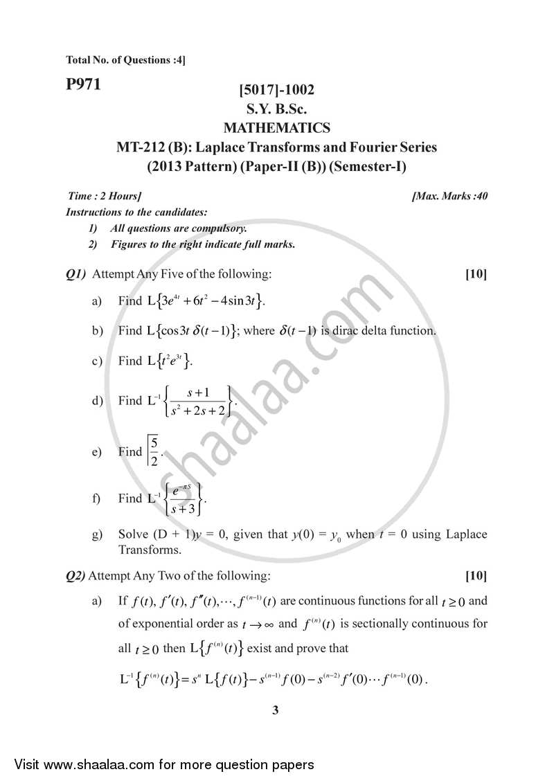 Laplace Transform and Fourier Series 2016-2017 - B.Sc. - Semester 3 (SYBSc) - University of Pune question paper with PDF download