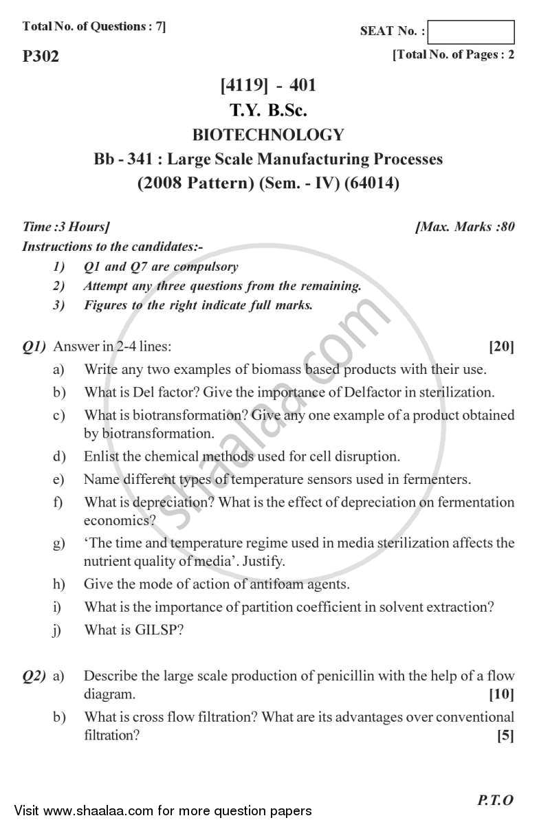 Large Scale Manufacturing Process 2012-2013 - B.Sc. - Semester 6 (TYBSc) - University of Pune question paper with PDF download
