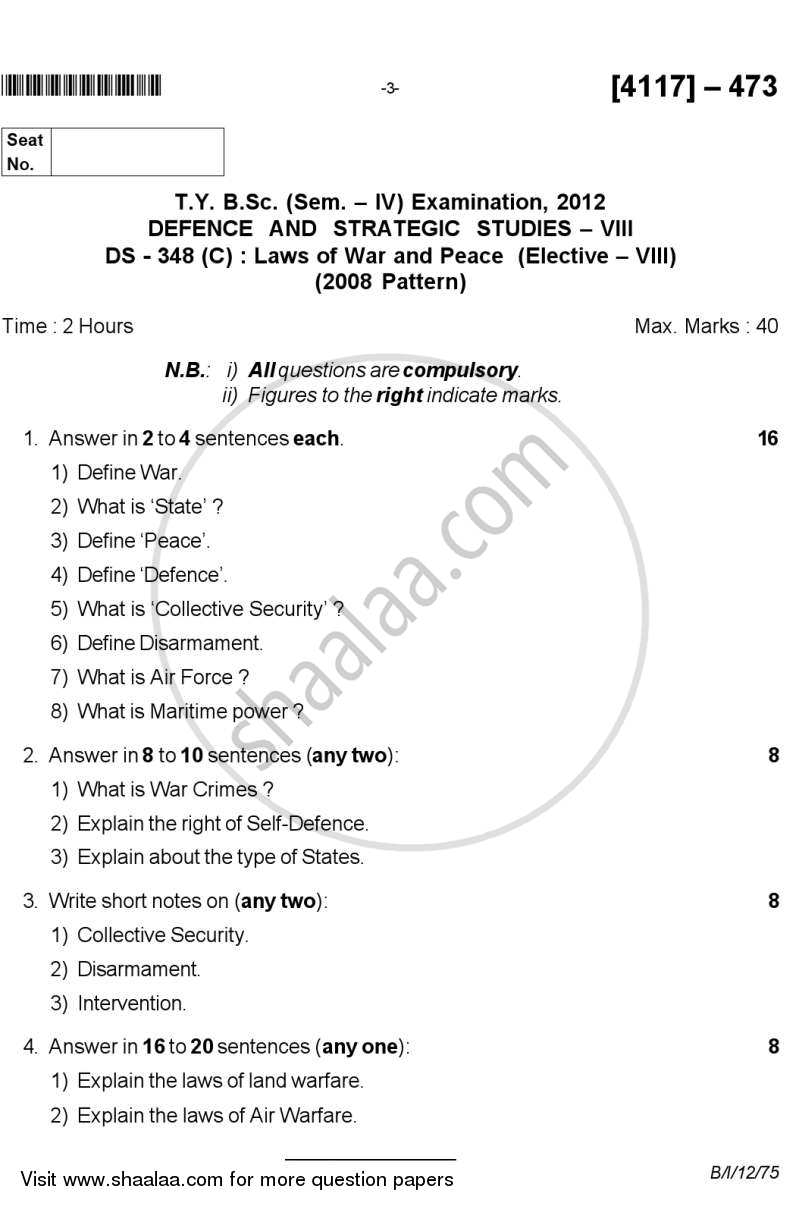 Laws of War and Peace 2012-2013 - B.Sc. - Semester 6 (TYBSc) - University of Pune question paper with PDF download