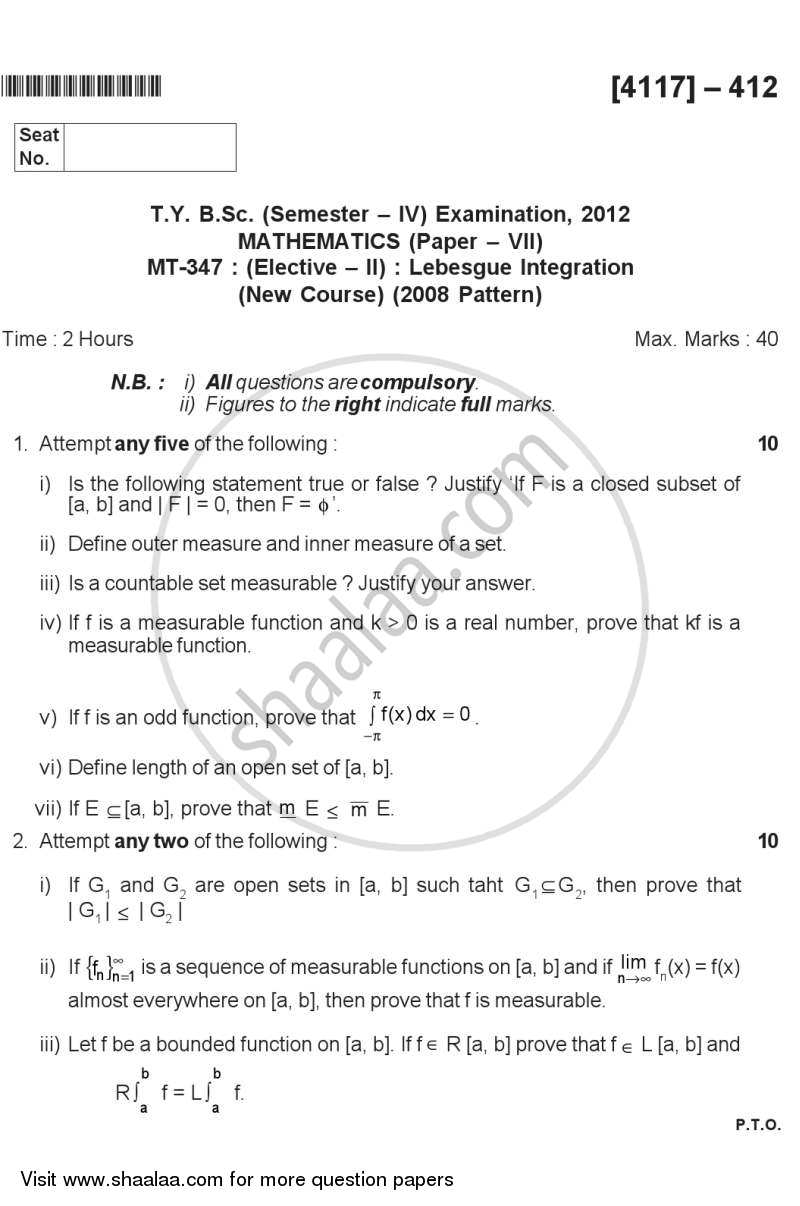Question Paper - Lebesgue Integration 2012 - 2013-B.Sc.-Semester 6 (TYBSc) University of Pune