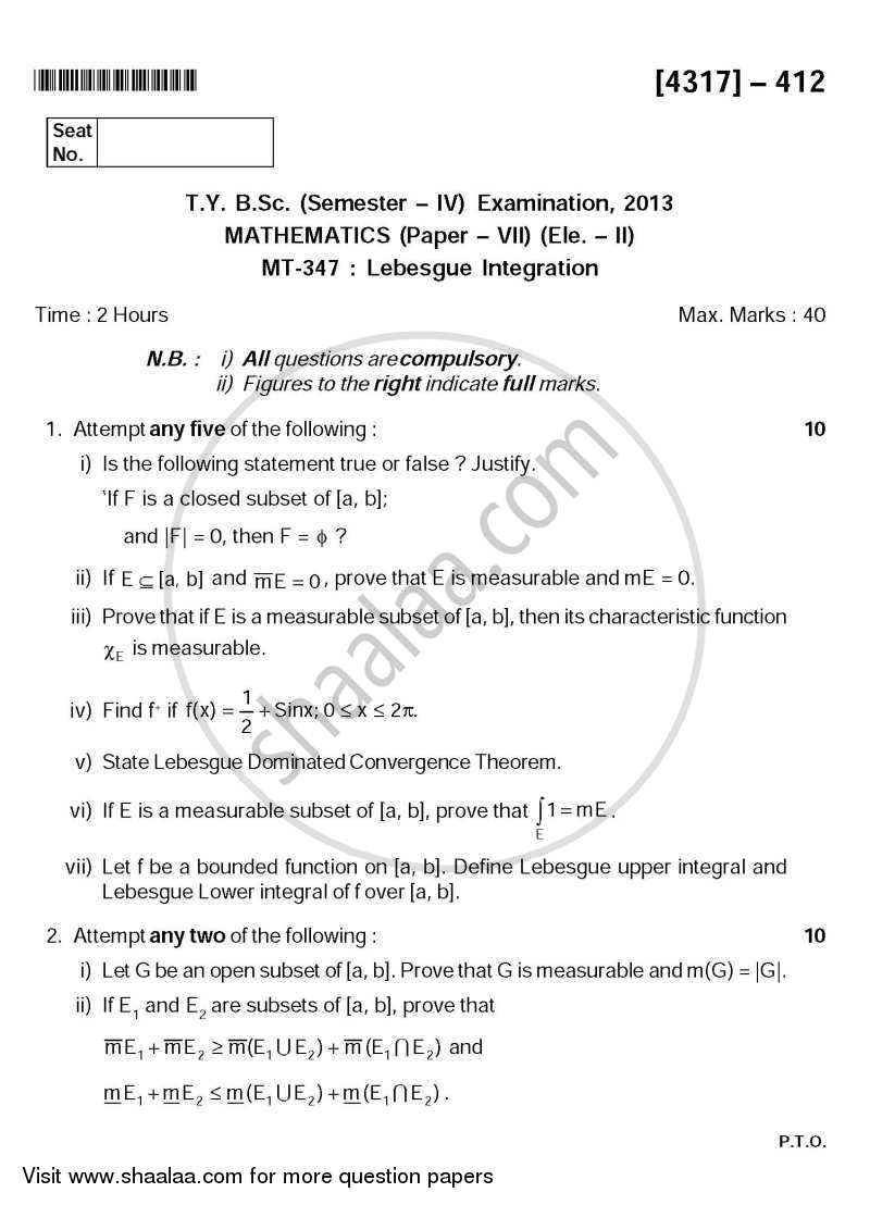 Lebesgue Integration 2013-2014 - B.Sc. - Semester 6 (TYBSc) - University of Pune question paper with PDF download