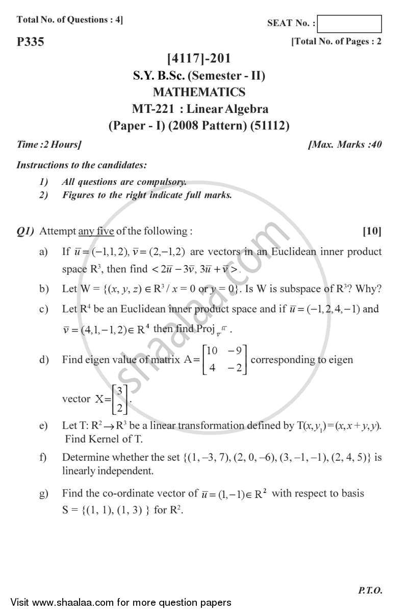 Linear Algebra 2012-2013 - B.Sc. - Semester 4 (SYBSc) - University of Pune question paper with PDF download