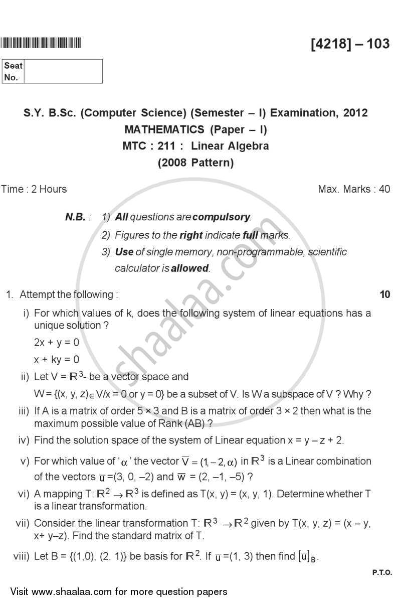 Linear Algebra 2012-2013 - B.Sc. - Semester 3 (SYBSc) - University of Pune question paper with PDF download