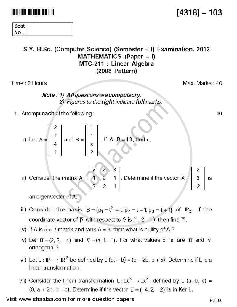 Question Paper - Linear Algebra 2013 - 2014 - B.Sc. - Semester 3 (SYBSc) - University of Pune