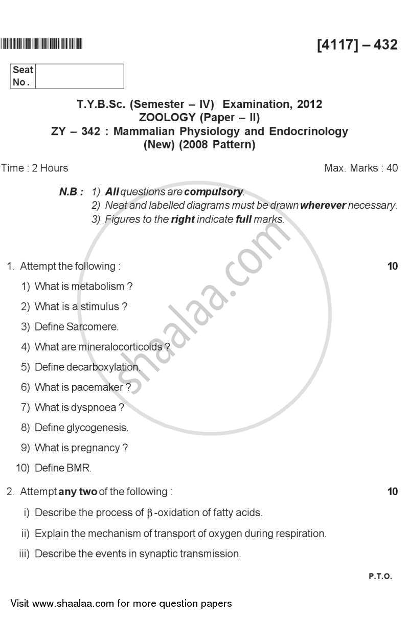 Question Paper - Mammalian Physiology and Endocrinology 2012 - 2013 - B.Sc. - Semester 6 (TYBSc) - University of Pune