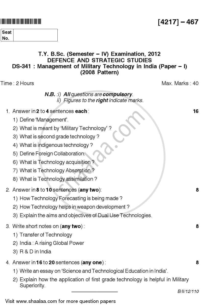 Question Paper - Management of Military Technology in India 2012 - 2013 - B.Sc. - Semester 6 (TYBSc) - University of Pune