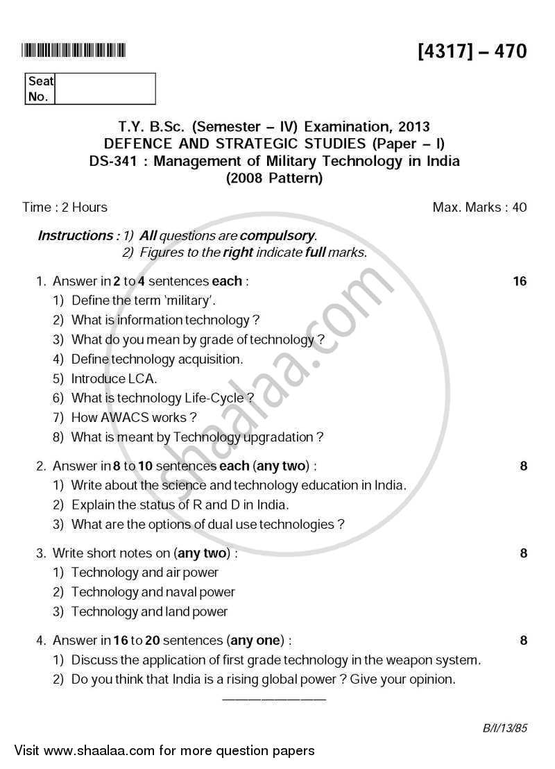 Management of Military Technology in India 2013-2014 - B.Sc. - Semester 6 (TYBSc) - University of Pune question paper with PDF download
