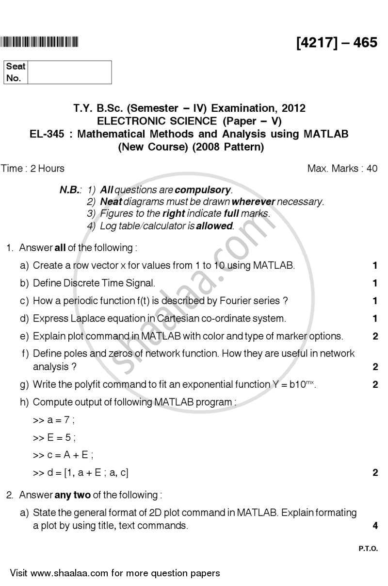 Question Paper - Mathematical Methods and Analysis using MATLAB 2012 - 2013 - B.Sc. - Semester 6 (TYBSc) - University of Pune