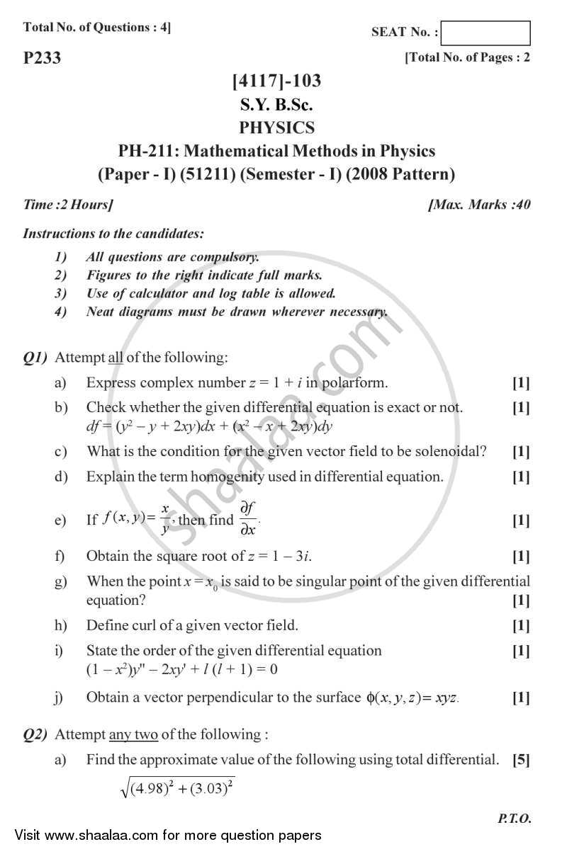 Question Paper - Mathematical Methods in Physics 2012 - 2013 - B.Sc. - Semester 3 (SYBSc) - University of Pune