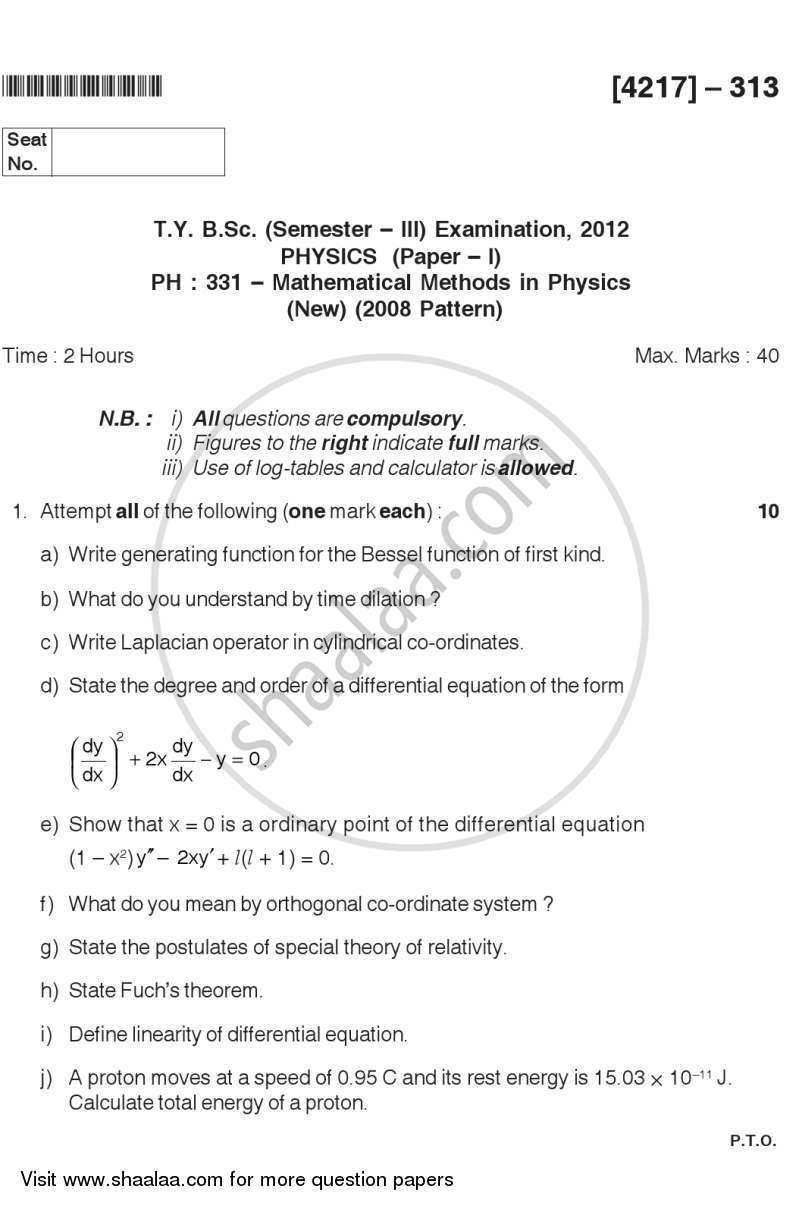 Question Paper - Mathematical Methods in Physics 2012 - 2013 - B.Sc. - Semester 5 (TYBSc) - University of Pune