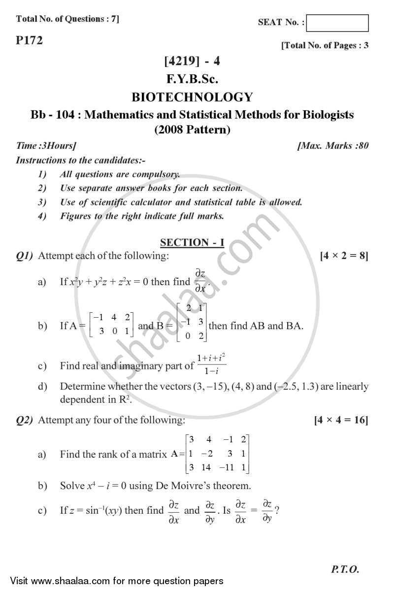Mathematics and Statistical Methods for Biologists 2012-2013 - B.Sc. - Semester 2 (FYBSc) - University of Pune question paper with PDF download