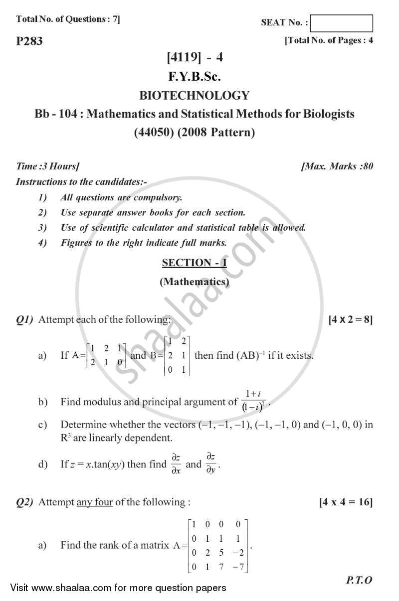 Question Paper - Mathematics and Statistical Methods for Biologists 2012 - 2013 - B.Sc. - Semester 2 (FYBSc) - University of Pune