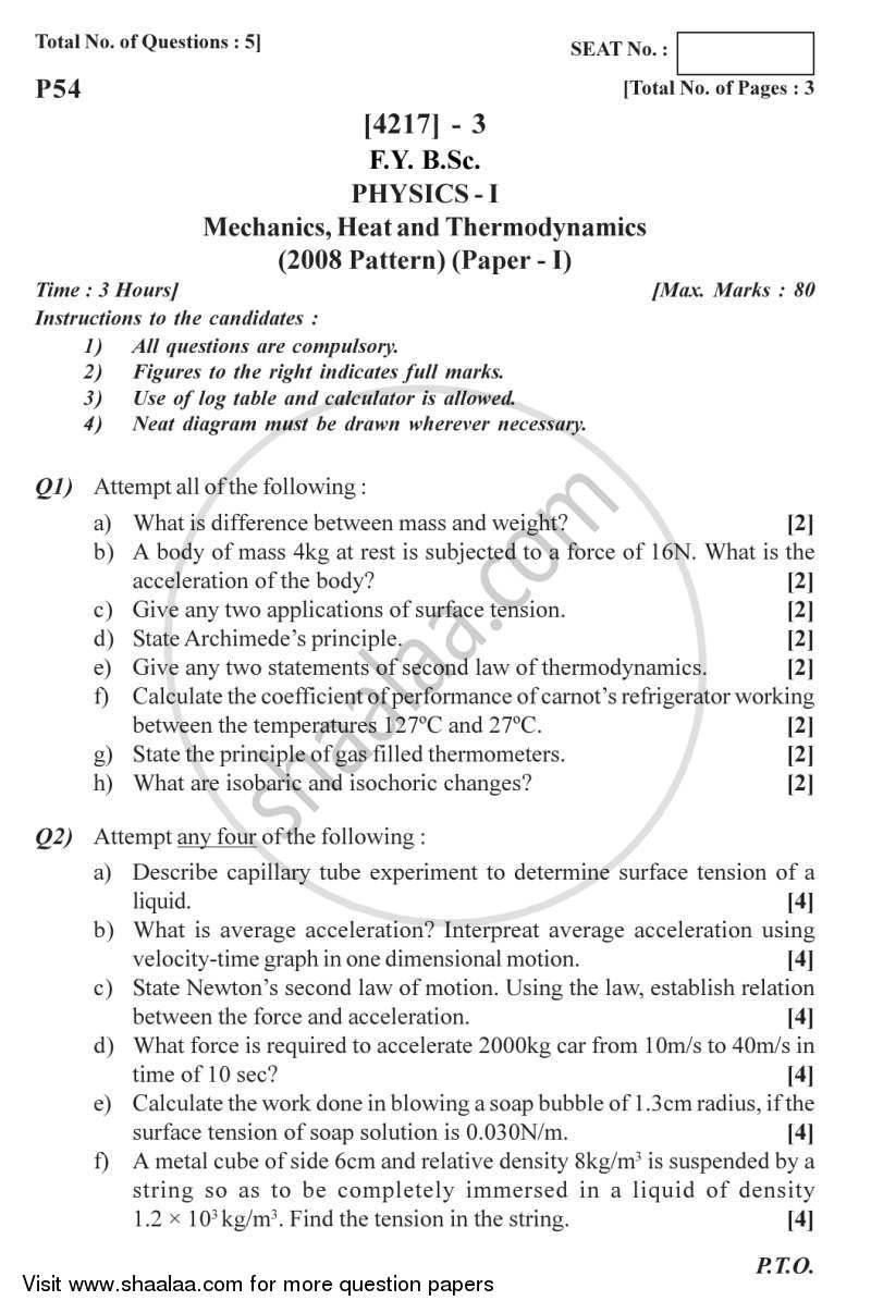 Question Paper - Mechanics, Heat and Thermodynamics 2012 - 2013 - B.Sc. - Semester 2 (FYBSc) - University of Pune