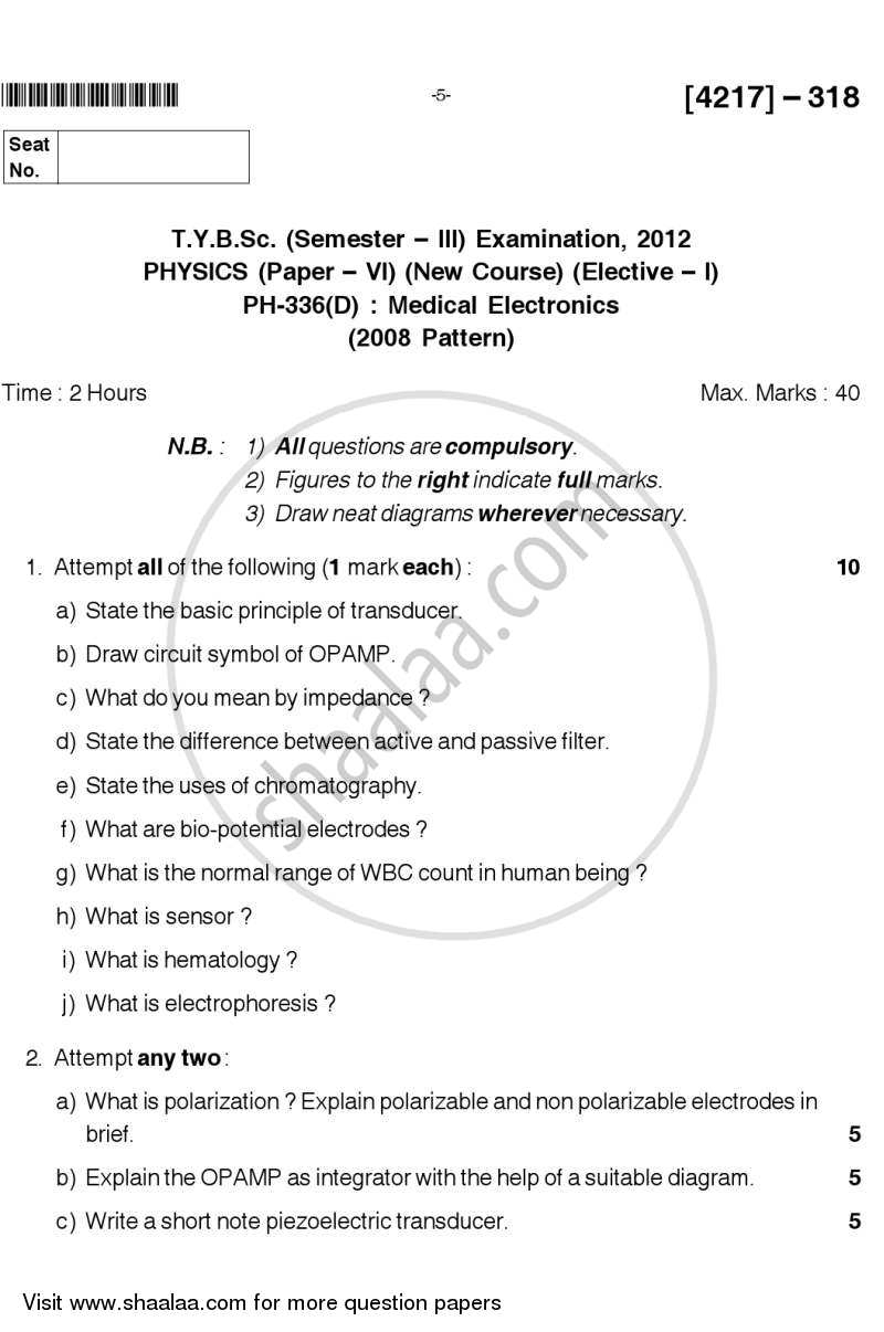 Question Paper - Medical Electronics 2012 - 2013 - B.Sc. - Semester 5 (TYBSc) - University of Pune