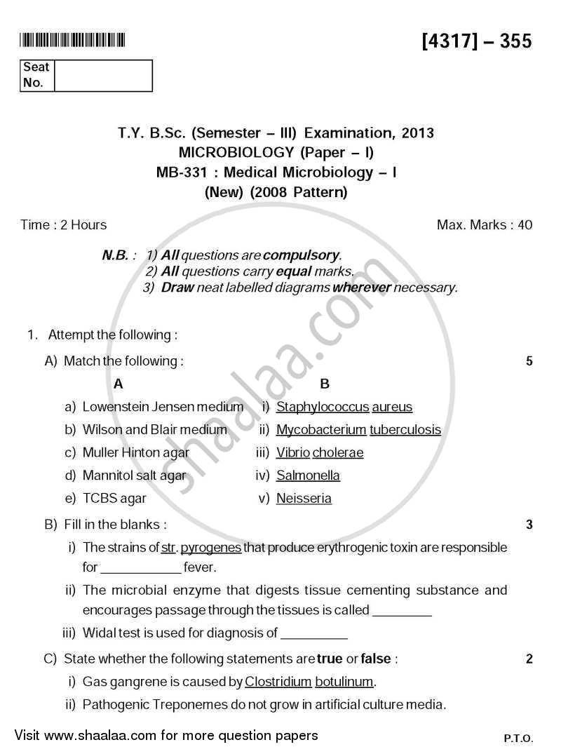 Question Paper - Medical Microbiology 1 2013 - 2014 - B.Sc. - Semester 5 (TYBSc) - University of Pune