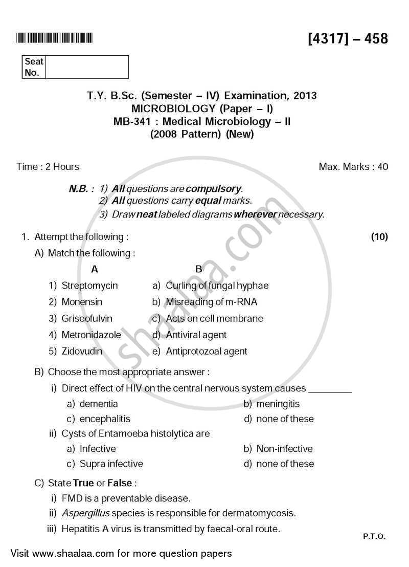 Question Paper - Medical Microbiology 2 2013 - 2014 - B.Sc. - Semester 6 (TYBSc) - University of Pune