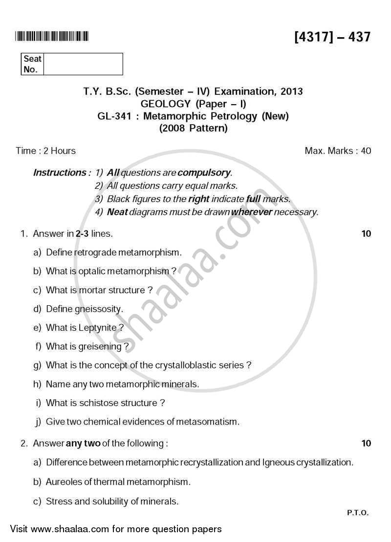 Question Paper - Metamorphic Petrology 2013 - 2014 - B.Sc. - Semester 6 (TYBSc) - University of Pune