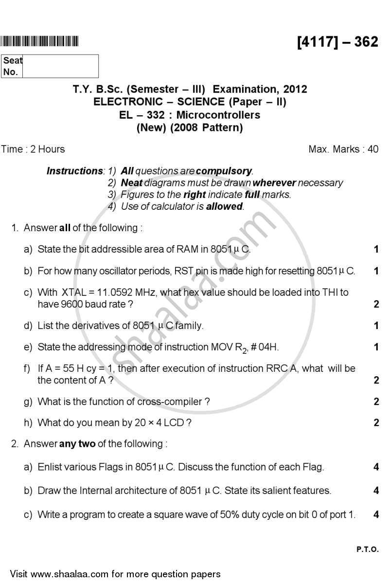 Microcontrollers 2012-2013 - B.Sc. - Semester 5 (TYBSc) - University of Pune question paper with PDF download