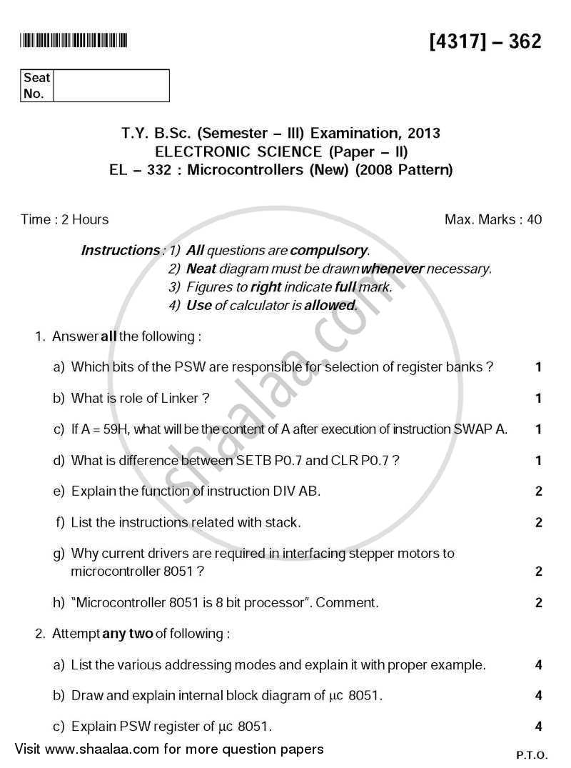 Question Paper - Microcontrollers 2013 - 2014-B.Sc.-Semester 5 (TYBSc) University of Pune