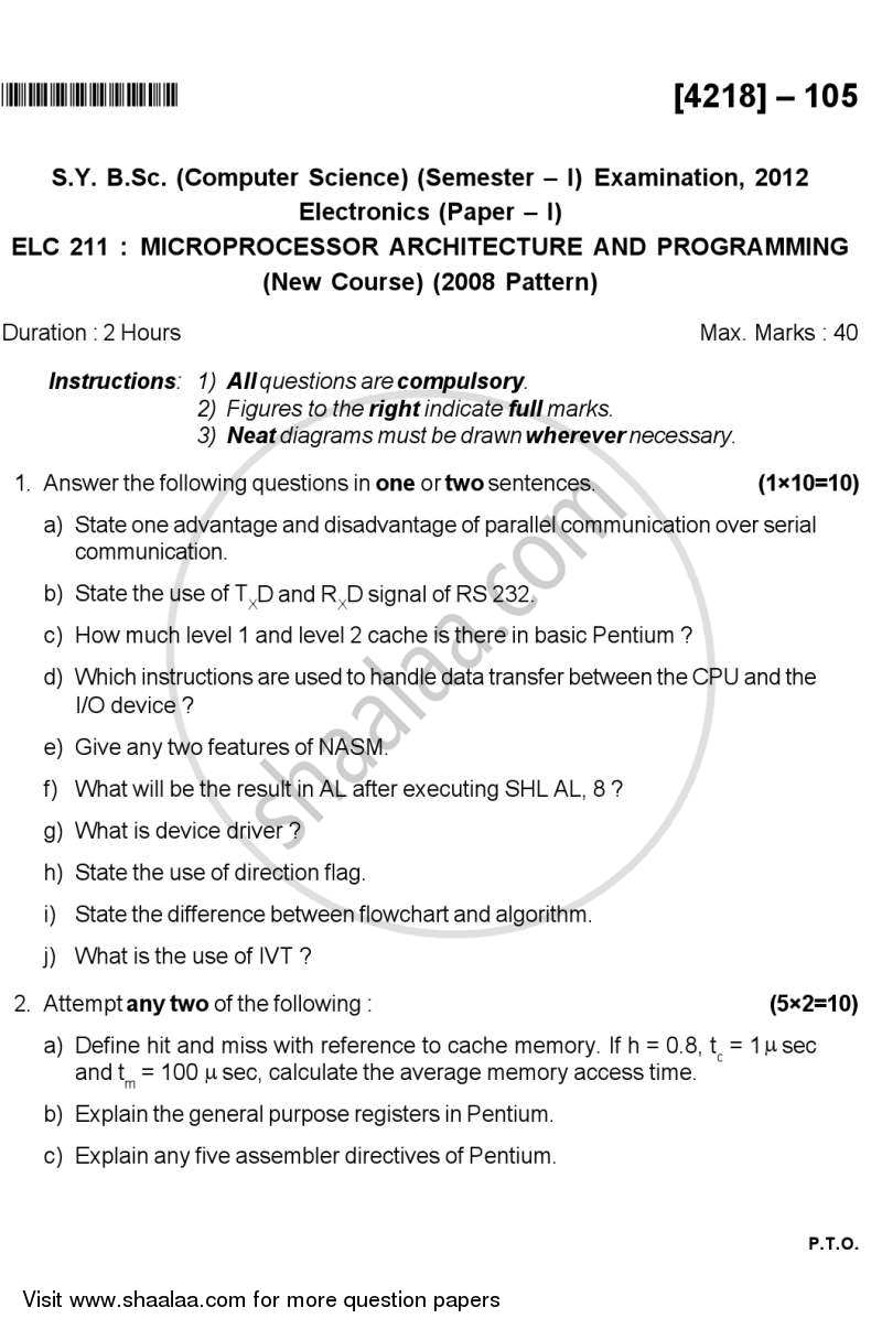 Question Paper - Microprocessor Architecture and Programming 2012 - 2013 - B.Sc. - Semester 3 (SYBSc) - University of Pune
