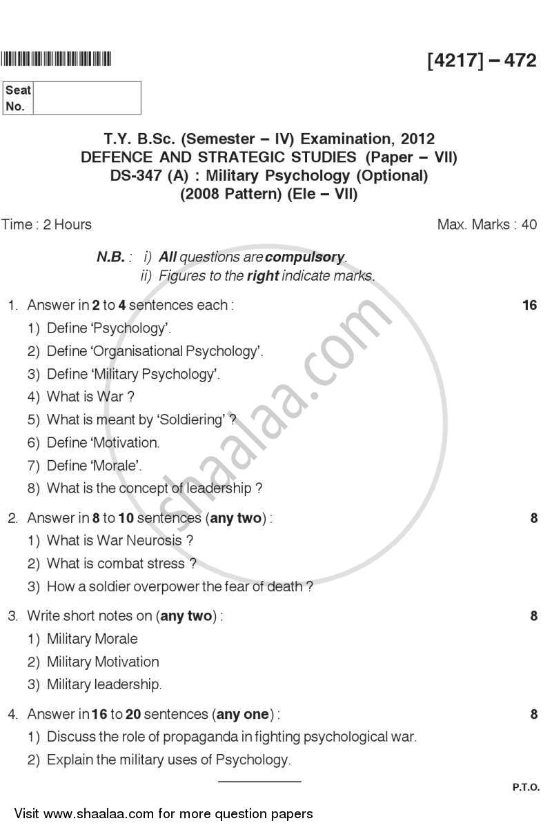 Military Psychology 2012-2013 - B.Sc. - Semester 6 (TYBSc) - University of Pune question paper with PDF download