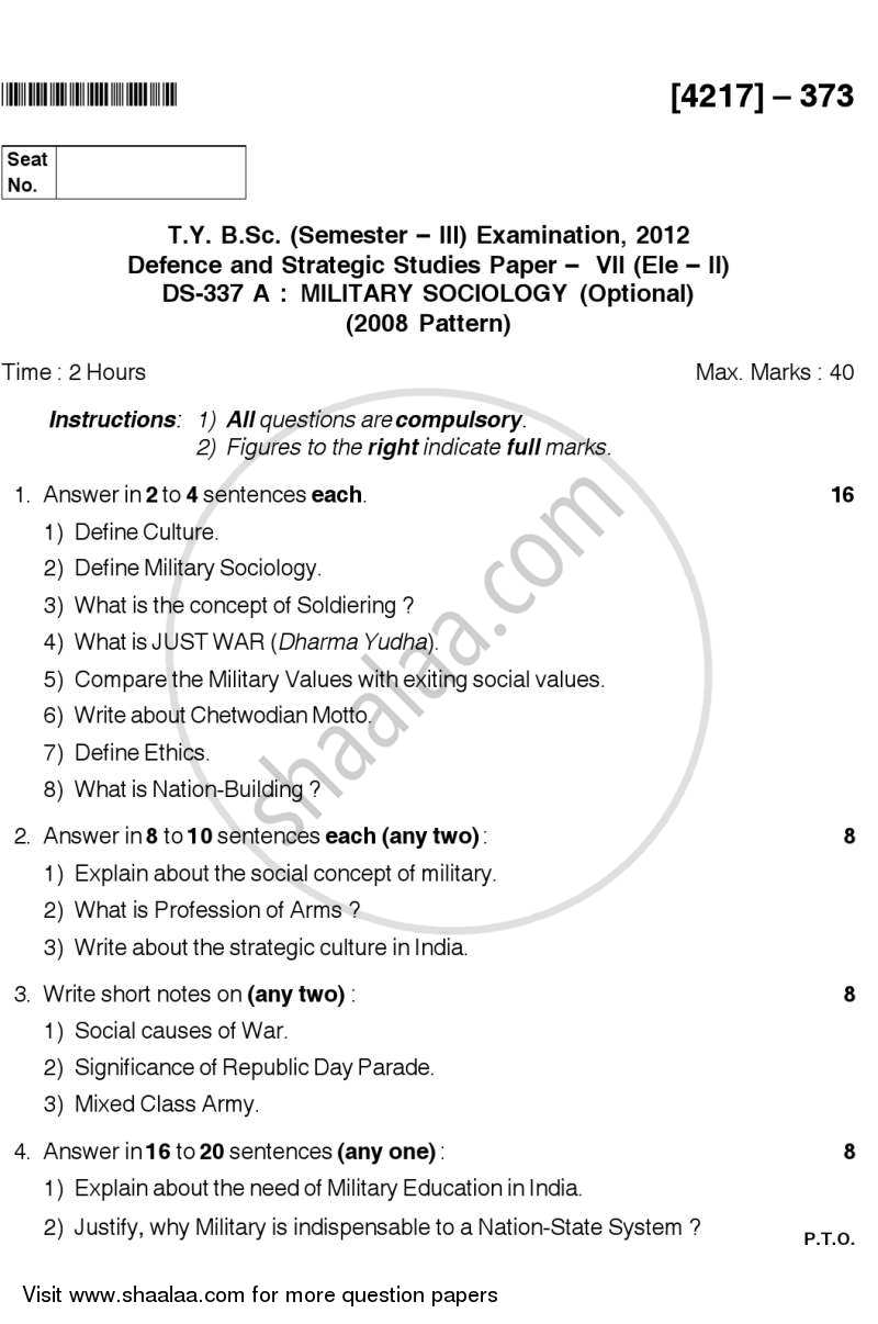 Question Paper - Military Sociology 2012 - 2013-B.Sc.-Semester 5 (TYBSc) University of Pune