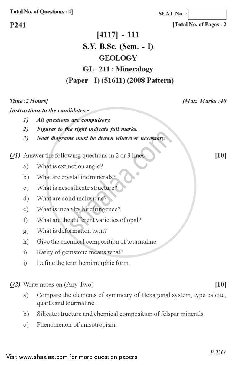 Question Paper - Mineralogy 2012 - 2013 - B.Sc. - Semester 3 (SYBSc) - University of Pune
