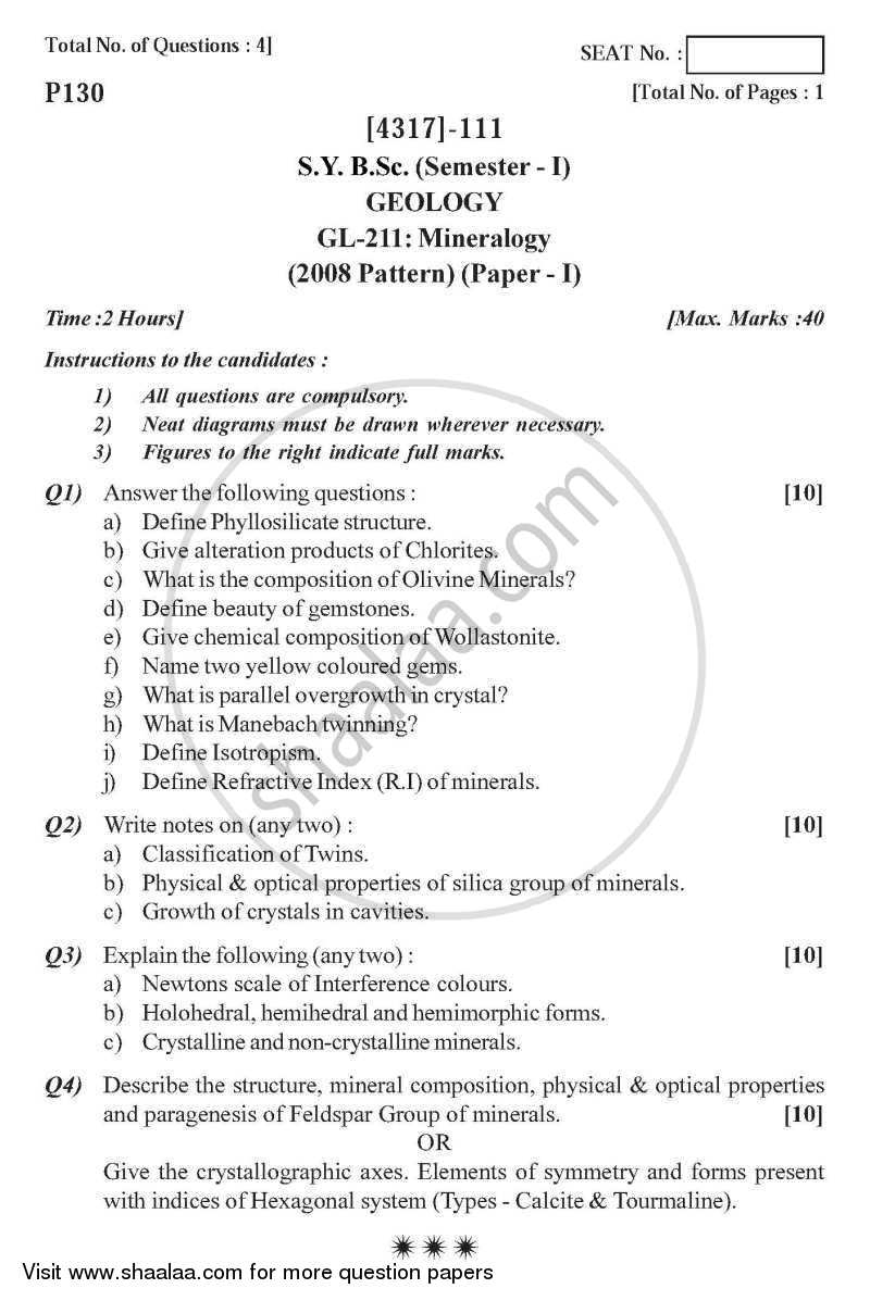 Question Paper - Mineralogy 2013 - 2014-B.Sc.-Semester 3 (SYBSc) University of Pune