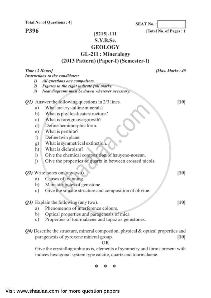 Mineralogy 2017-2018 B Sc Geology Semester 3 (SYBSc) 2013