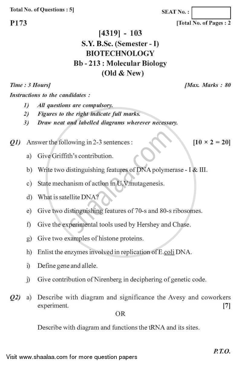 Question Paper - Molecular Biology 2013 - 2014 - B.Sc. - Semester 3 (SYBSc) - University of Pune
