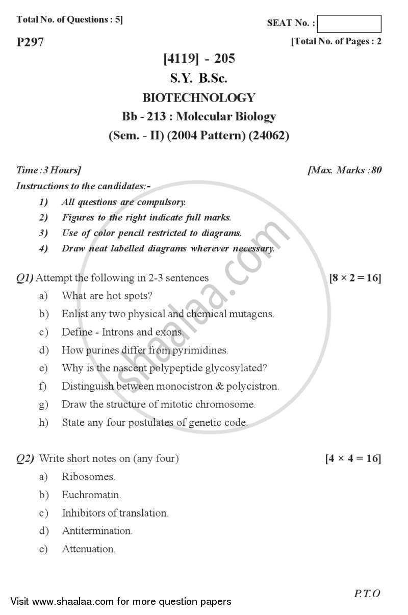 Question Paper - Molecular Biology 2012 - 2013 - B.Sc. - Semester 4 (SYBSc) - University of Pune
