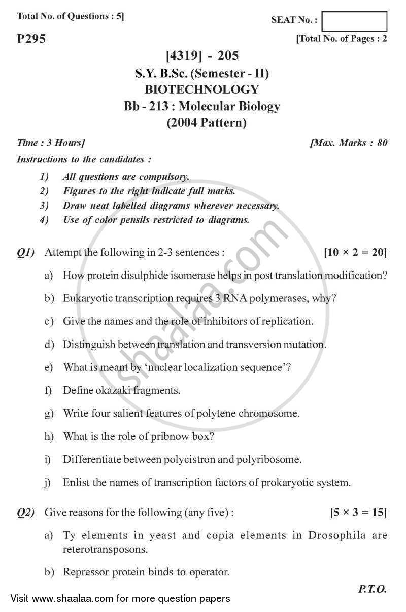 Question Paper - Molecular Biology 2013 - 2014 - B.Sc. - Semester 4 (SYBSc) - University of Pune