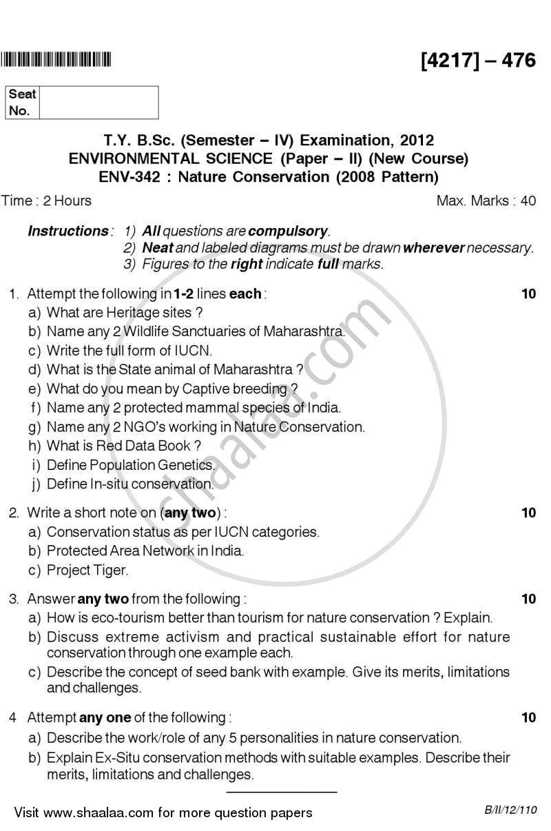 Question Paper - Nature Conservation 2012 - 2013-B.Sc.-Semester 6 (TYBSc) University of Pune