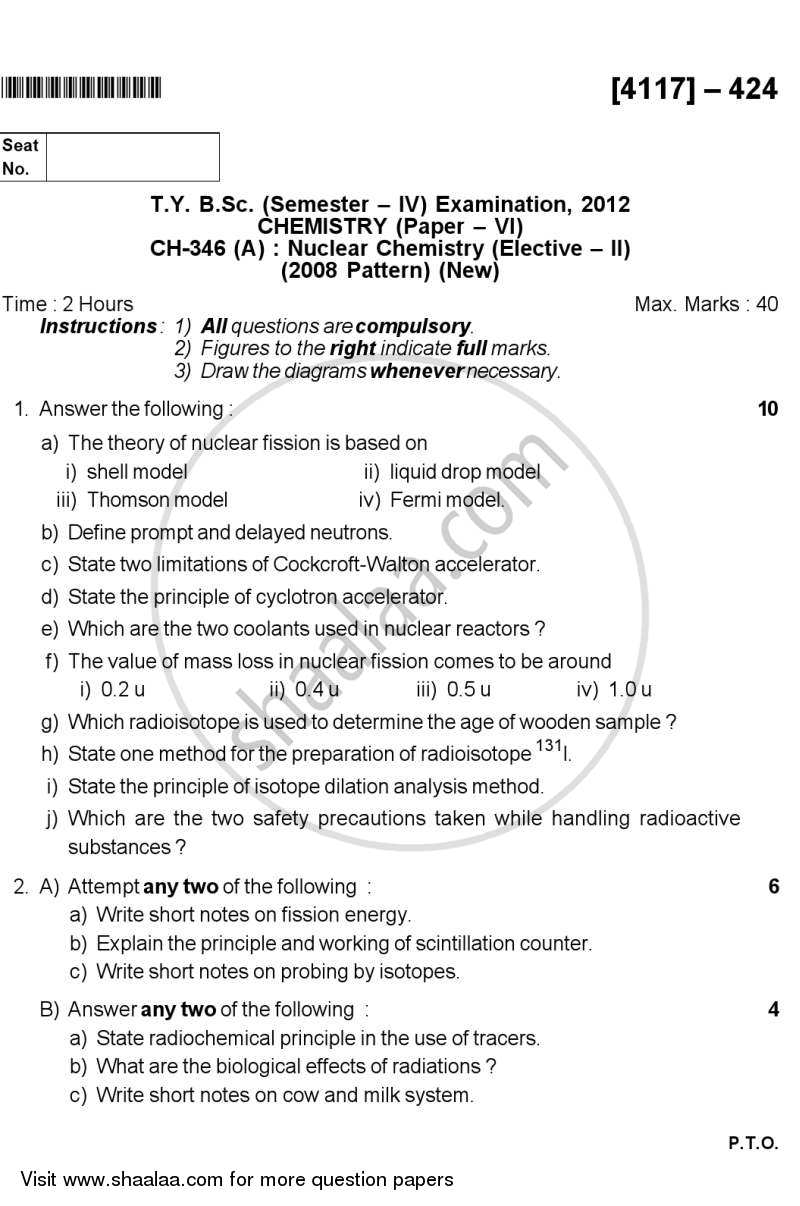 Question Paper - Nuclear Chemistry 2012 - 2013 - B.Sc. - Semester 6 (TYBSc) - University of Pune