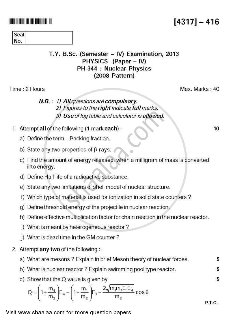 Question Paper - Nuclear Physics 2013 - 2014 - B.Sc. - Semester 6 (TYBSc) - University of Pune