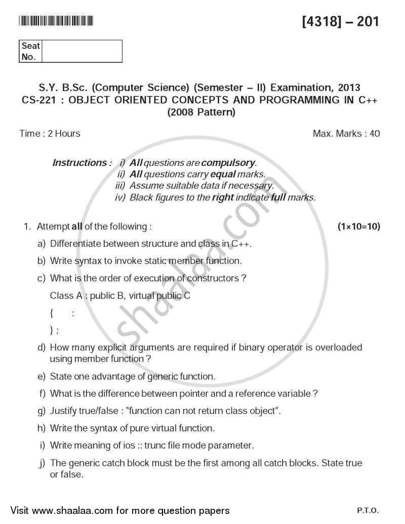 Question Paper - Object Oriented Concepts Using C++ 2013 - 2014 - B.Sc. - Semester 4 (SYBSc) - University of Pune