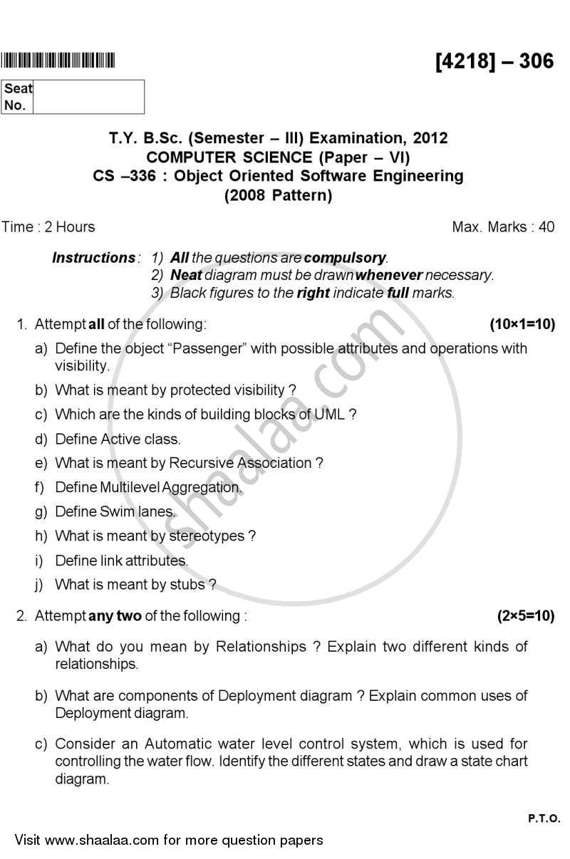 Question Paper - Object Oriented Software Engineering 2012 - 2013 - B.Sc. - Semester 5 (TYBSc) - University of Pune