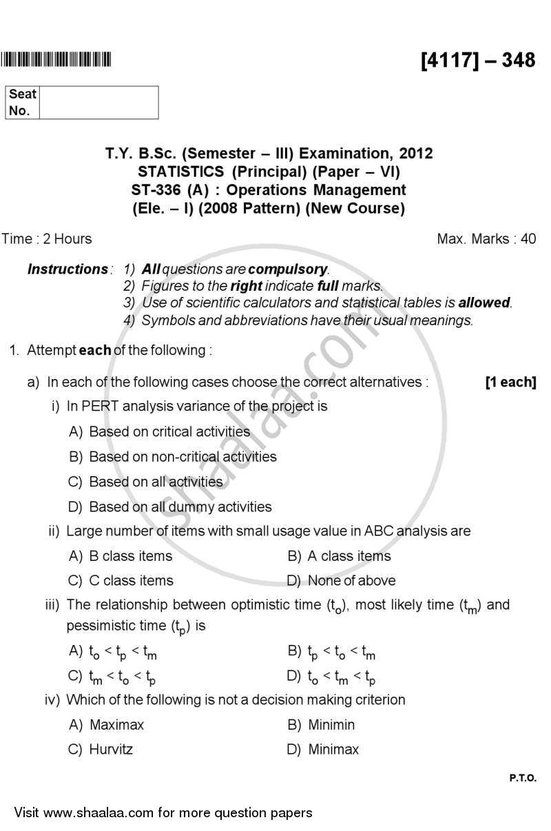 Question Paper - Operations Management 2012 - 2013 - B.Sc. - Semester 5 (TYBSc) - University of Pune