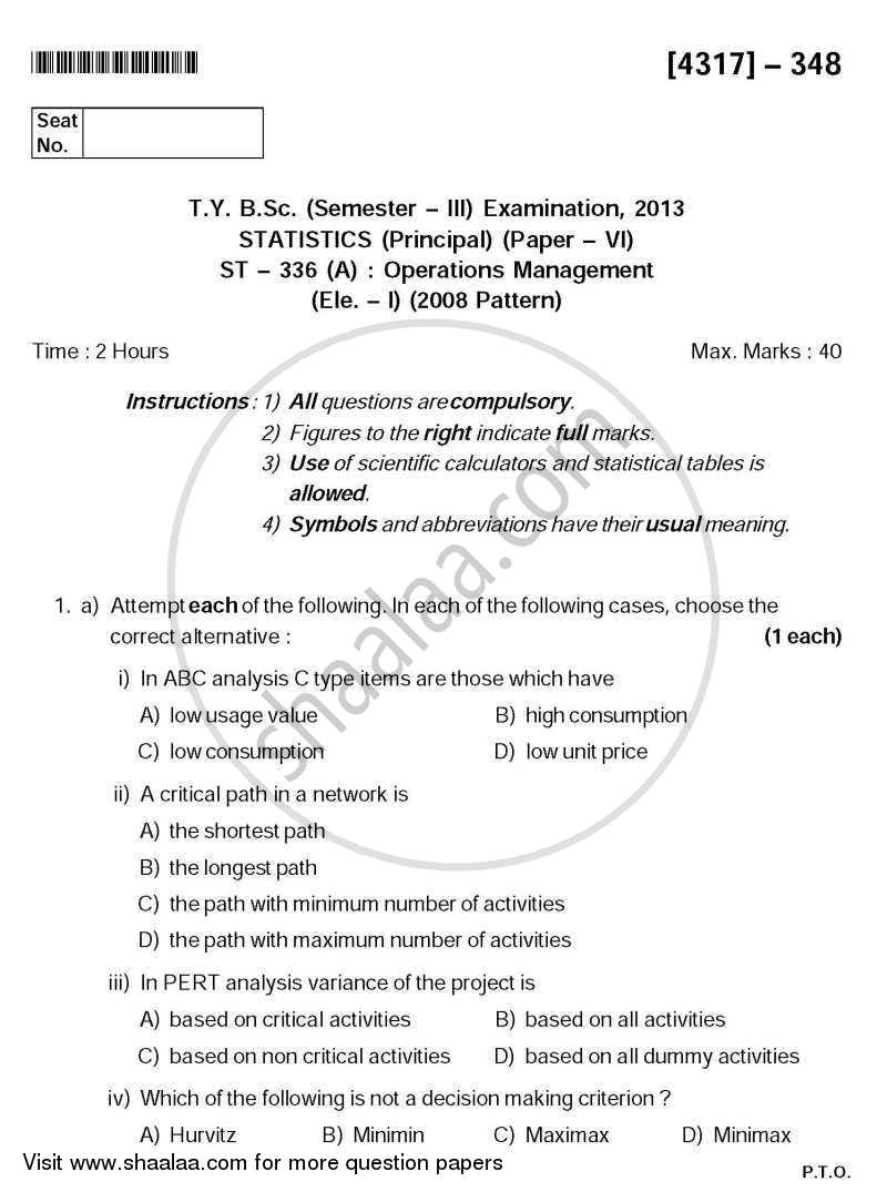 Question Paper - Operations Management 2013 - 2014 - B.Sc. - Semester 5 (TYBSc) - University of Pune