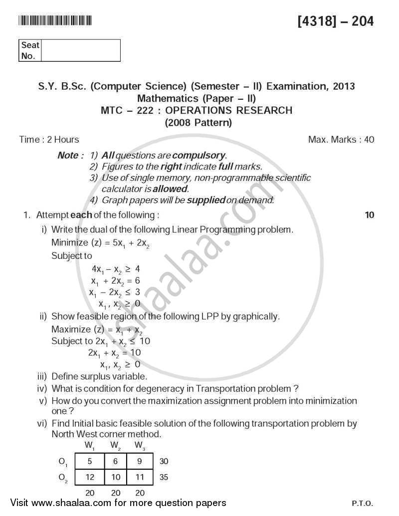 Question Paper - Operations Research 2013 - 2014 - B.Sc. - Semester 4 (SYBSc) - University of Pune